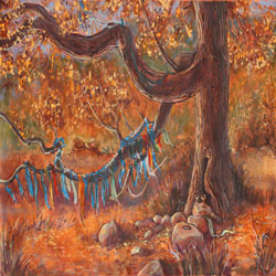 painting of tree with strings of prayer flags on it