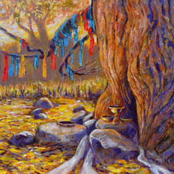 close-up painting of tree with prayer flags