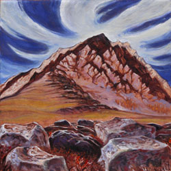 ppainting of red mountain with vibrant blue sky and clouds behind
