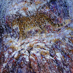 painting of snow leopard hidden behind falling snow