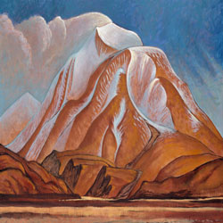 painting of red mountains wiht blue sky behind