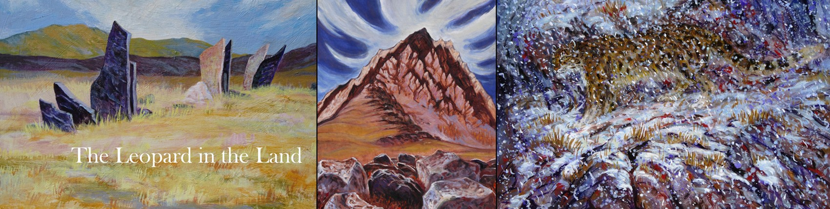 The paintings together with the words The Leopard in the Land. First painting is thin stone slabs standing in a meadow with mountains in the distance. Second painting red mountain with blue sky and white clouds in background. Third painting snow leopard hidden behind thousands of snow flakes